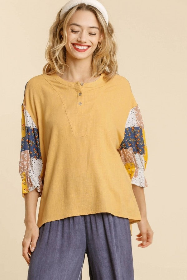 Umgee Honey Top with Patchwork Print Sleeves