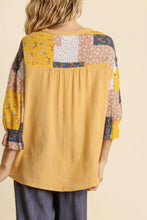 Load image into Gallery viewer, Umgee Honey Top with Patchwork Print Sleeves