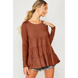 Solid Brick Tiered Long Sleeve Ruffle Top - June Adel