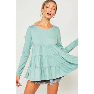 Solid Mint Tiered Long Sleeve Ruffle Top - June Adel