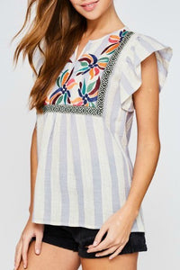 Blue Striped Flutter Sleeve Top with Floral Embroidered Front - June Adel
