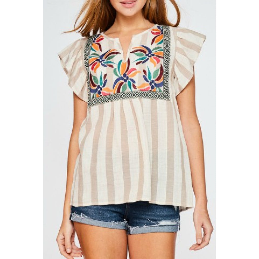 Taupe Striped Flutter Sleeve Top with Floral Embroidered Front - June Adel