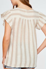 Load image into Gallery viewer, Taupe Striped Flutter Sleeve Top with Floral Embroidered Front - June Adel