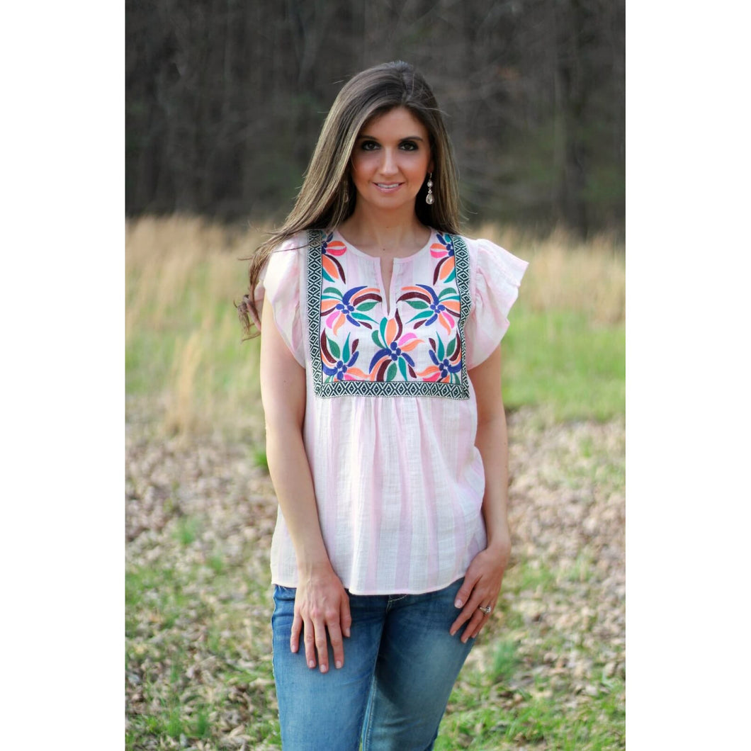 Pink Striped Flutter Sleeve Top with Floral Embroidered Front - June Adel