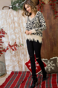 Black and Beige Leopard Print Frayed Sweater with V-Neck - June Adel