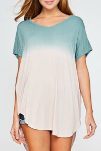 Sage Dip Dyed Tunic Top - June Adel