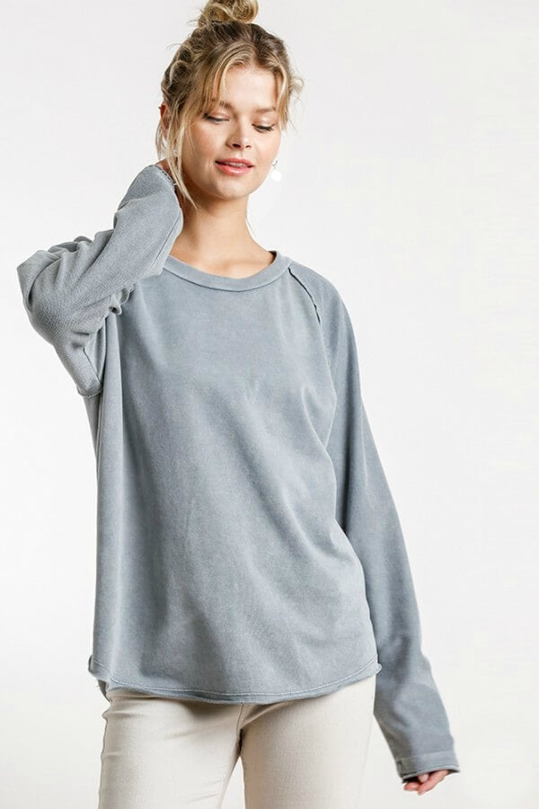 Umgee Gray French Terry Top