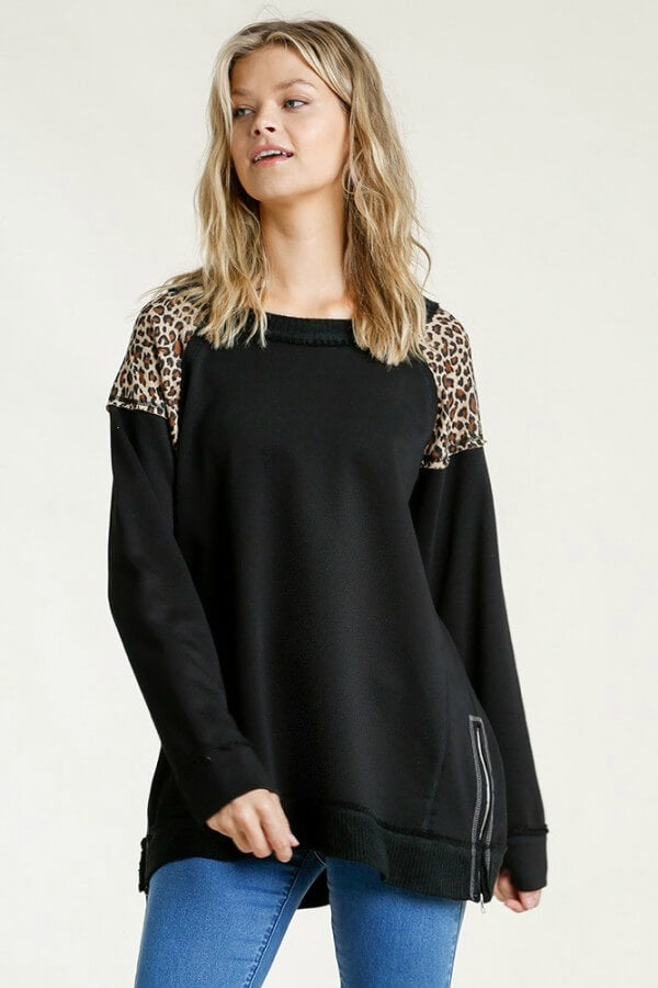 Umgee Black French Terry Top with Animal Print Shoulders