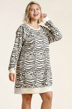 Load image into Gallery viewer, Umgee Cream and Gray Zebra Print Dress
