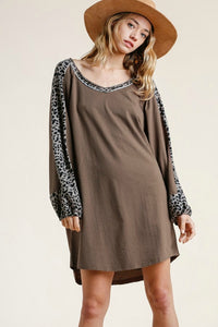 Umgee Mocha Dress with Animal Print Sleeves
