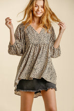Load image into Gallery viewer, Umgee Latte Animal Print Babydoll Top