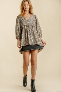Umgee Latte Animal Print Babydoll Top