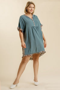 Umgee Dusty Blue Linen Blend Dress with Animal Print Trim