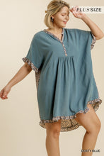 Load image into Gallery viewer, Umgee Dusty Blue Linen Blend Dress with Animal Print Trim