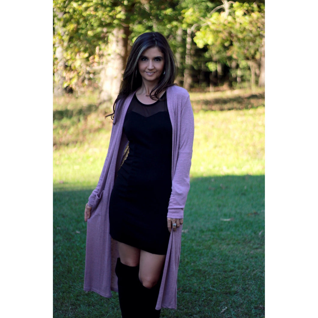 Mauve Ribbed Long Duster Cardigan with Pockets - June Adel
