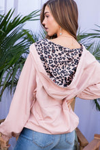Load image into Gallery viewer, Blush Windbreaker Pullover with Leopard Print Trim