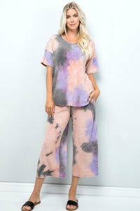 Mauve and Charcoal Two-Piece Lounge Set