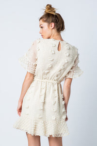 Cream Floral Embellished Dress with Waist Tie - June Adel