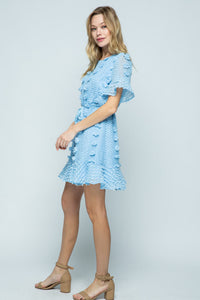 Blue Floral Embellished Dress with Waist Tie - June Adel