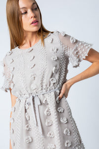 Gray Floral Embellished Dress with Waist Tie - June Adel