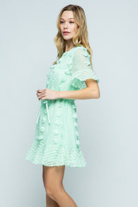 Mint Floral Embellished Dress with Waist Tie - June Adel