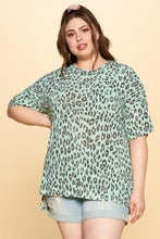Load image into Gallery viewer, Oddi Tea Green Leopard Print Soft Knit Top