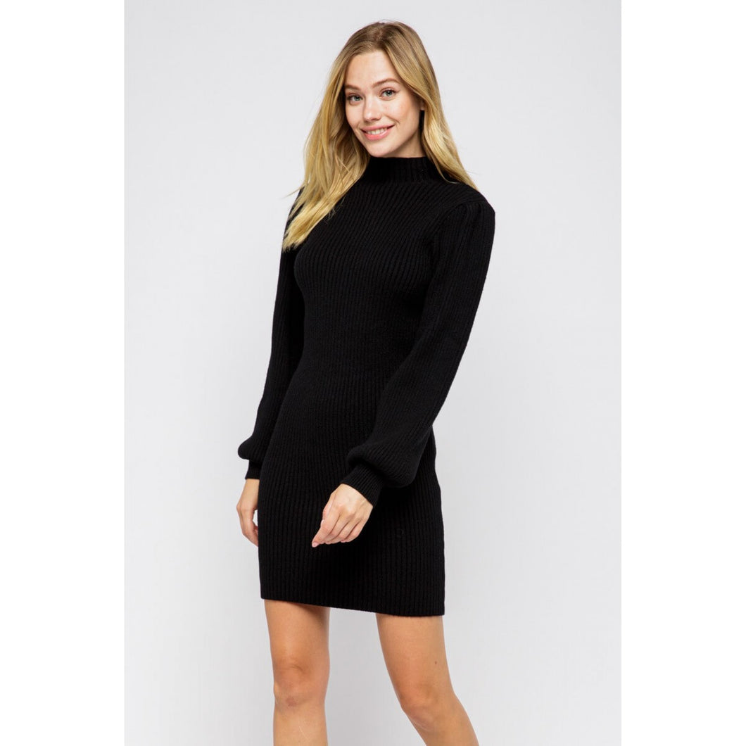 Black Sweater Mock Neck Dress with Puff Sleeves - June Adel