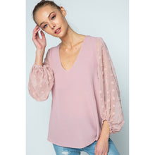 Load image into Gallery viewer, Mauve V-Neck Blouse with Embellished Sleeves - June Adel
