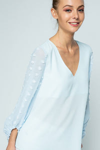 Light Blue V-Neck Blouse with Embellished Sleeves - June Adel