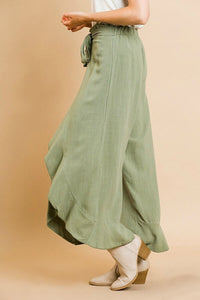 Umgee Linen Blend Sage Pants with Tulip Ruffles - June Adel