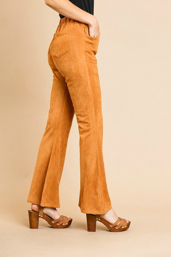 Suede Flare Pants in Walnut - June Adel
