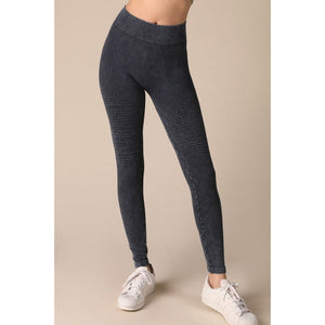 Seamless Leggings with Pleats on Front in Vintage Denim - June Adel