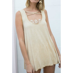 Honey Gold Top with Criss Cross and Lace Details - June Adel