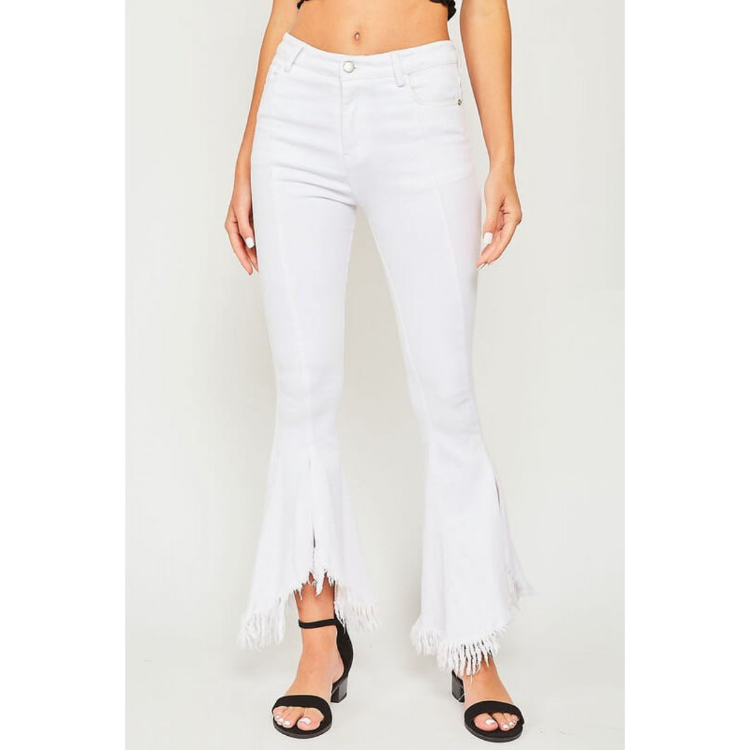 Ultra Flared Jean with Frayed Hem in Off White - June Adel