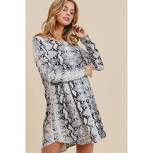 Load image into Gallery viewer, Gray Snake Print Baby Doll Dress - June Adel