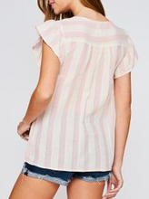 Load image into Gallery viewer, Pink Striped Flutter Sleeve Top with Floral Embroidered Front - June Adel