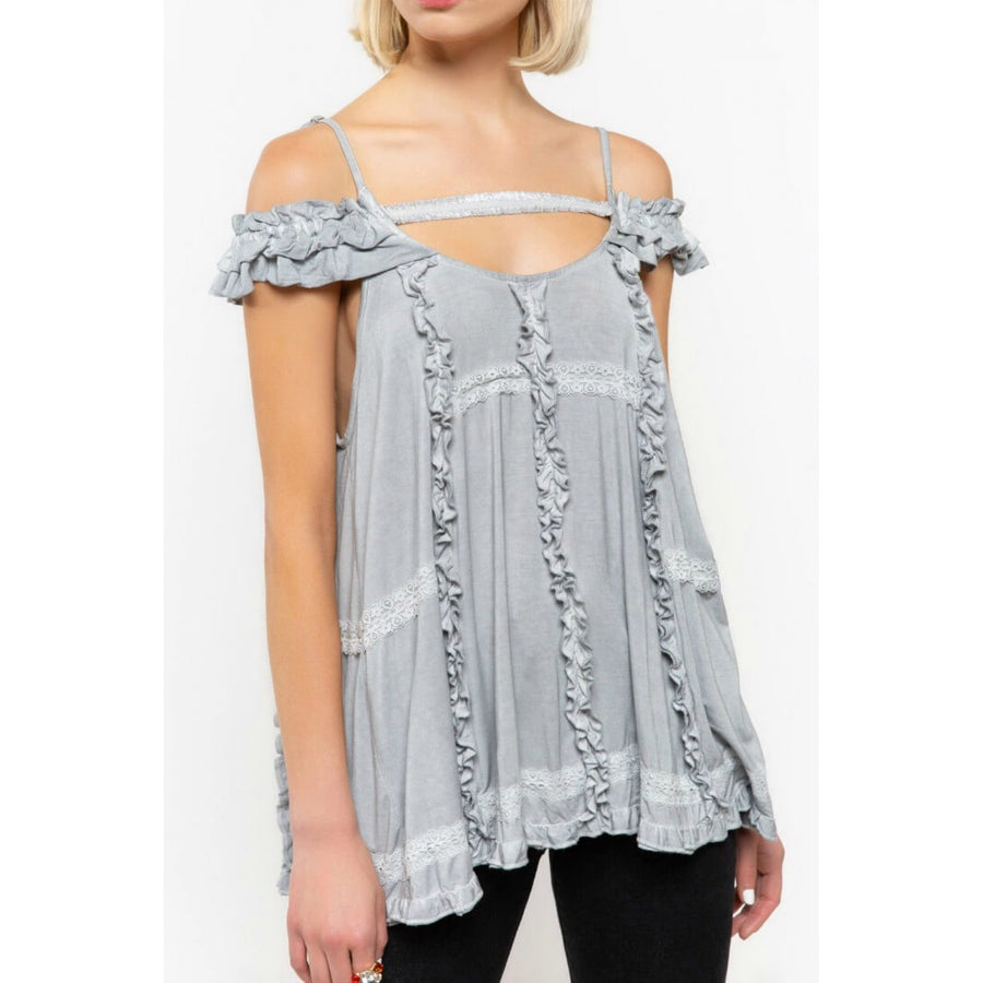 Dove Gray Off Shoulder Top with Ruffle Details - June Adel