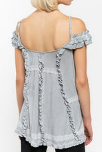 Load image into Gallery viewer, Dove Gray Off Shoulder Top with Ruffle Details - June Adel