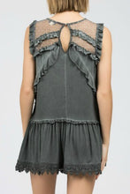 Load image into Gallery viewer, Charcoal Tunic Top with Mesh Contrast and Ruffle Details - June Adel