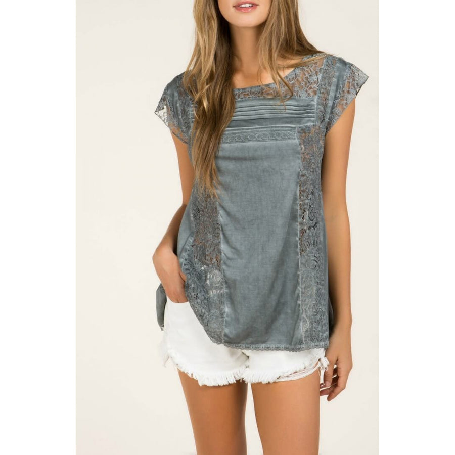 Charcoal Top with Lace Details and Back Tie Keyhole - June Adel