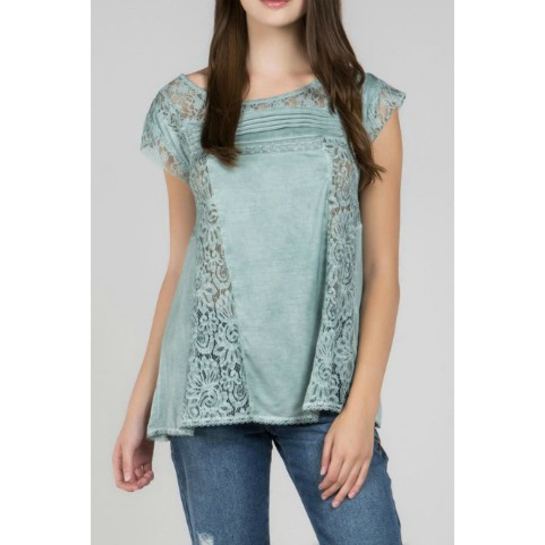 Emerald Top with Lace Details and Back Tie Keyhole - June Adel