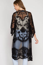Load image into Gallery viewer, Black Lace Kimono Duster - June Adel