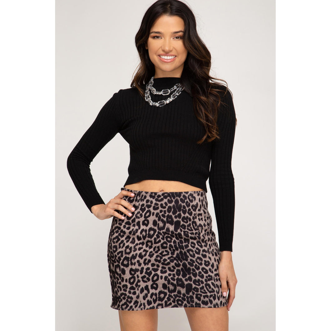 Leopard Print Faux Suede Mini Skirt in Ash Mocha - June Adel