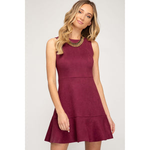 Wine Faux Suede Sleeveless Dress with Flounce Hem - June Adel