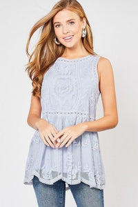 Light Blue Sleeveless Lace Top with Scalloped Hem - June Adel