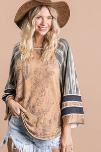 Bucketlist Mustard Mixed Print Top