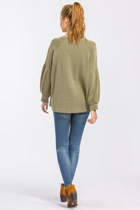 Olive Ribbed Solid Top with Puff Sleeves - June Adel