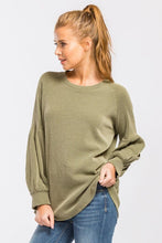 Load image into Gallery viewer, Olive Ribbed Solid Top with Puff Sleeves - June Adel