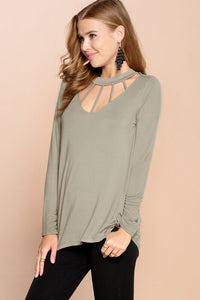 Stone Top with Caged Neckline - June Adel