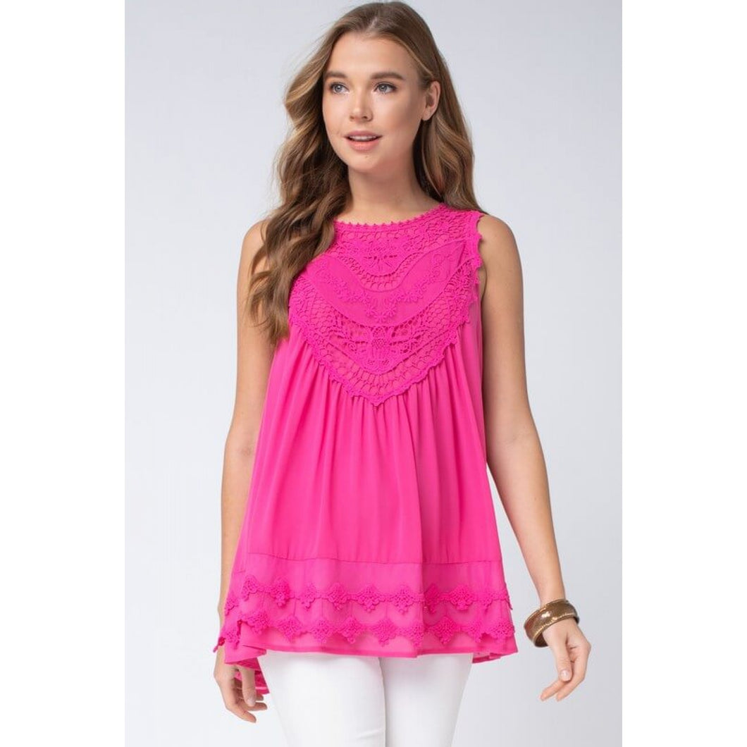 Hot Pink Sleeveless Top with Lace and Crochet Details - June Adel